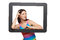 Stock Image : Woman looking through tablet frame
