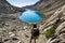 Stock Image : Woman Mountain Backpacker