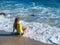 Stock Image : Woman on rocky beach