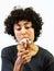 Stock Image : Woman smokes 6 cigarettes