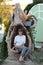 Stock Image : Woman on a stump