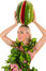 Stock Image : Woman with watermelon on head