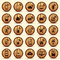 Stock Image : Wood WiFi icons. Mobile and wireless Buttons.