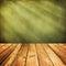 Stock Image : Wooden deck floor over green grunge background.
