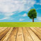 Stock Image : Wooden deck floor over green meadow with tree and blue sky