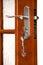 Stock Image : Wooden door with a bunch of keys