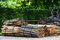 Stock Image : Wooden poles used for fencing