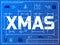 Stock Image : Word XMAS like blueprint drawing