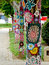 Stock Image : Yarn bombing in trees. European park.