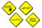 Stock Image : Yellow warning sign - control panel, search engine, lets go, stop, illustration