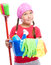 Stock Image : Young girl is dressed as a cleaning maid