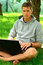 Stock Image : Young man working on his laptop under the tree
