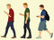 Stock Image : Young Men Walking and Texting