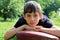 Stock Image : Young serious boy pre-teen