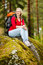 Stock Image : Young woman hiker on a break