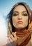 Stock Image : Young woman wearing glamorous make up