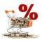 Stock Image :  Złociste monety w wózek na zakupy z znakiem sprzedaż na tle