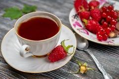  de Ñ para arriba del té y de las frambuesas frescas en un primer de madera de la tabla fotografía de archivo libre de regalías