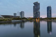 Central Park in Songdo international business district. INCHEON, SOUTH KOREA -OCTOBER 5:  Central Park in Songdo international business district Photo royalty free stock photography