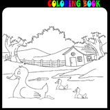 House and garden with farm animals, coloring book vector illustration