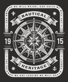 Vintage Nautical Heritage Typography On Black Background. Vintage nautical heritage typography on black background, t-shirt and label graphics with compass Stock Photography