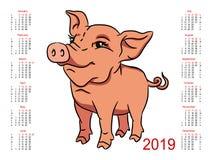 ¡2019 alendar de Ð Símbolo del año Fotos de archivo