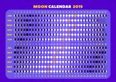 ¡ De Ð alendar de fases da lua para cada dia ilustração royalty free