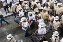 ¡ N de PopayÃ, Colômbia - 5 de janeiro de 2014: Carnaval preto e branco M Fotos de Stock
