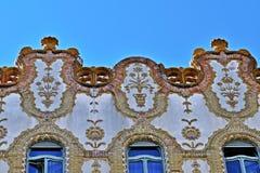 ¡ R, jugendstilbyggnad för Ã-llamkincstà i Budapest, Ungern Arkivbild