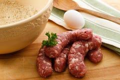 ¡Albóndigas de la salchicha para la cena! Imagen de archivo libre de regalías