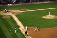 ¡Béisbol - acción del juego! Fotografía de archivo libre de regalías
