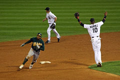 ¡Béisbol - redondeo de 2do! Fotografía de archivo libre de regalías