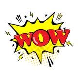 ¡Burbuja cómica del discurso con el texto wow de la expresión! Estrellas y nubes Estilo de los tebeos del arte pop Aislado en fon ilustración del vector
