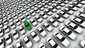 ¡Centenares de coches, un verde! Imagenes de archivo