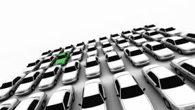 ¡Cuarenta coches, un verde! Imagen de archivo