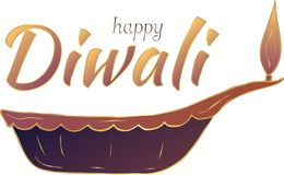 ¡Diwali feliz! Lámpara india en el fondo blanco bandera stock de ilustración