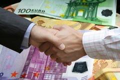 ¡El apretón de manos financiero!! imágenes de archivo libres de regalías