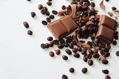 ¡El chocolate y el café en buen marrón del gusto se mezclan! Foto de archivo libre de regalías