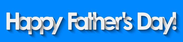 ¡El día de padre feliz! Letras blancas aisladas en fondo azul ilustración del vector