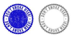¡El Grunge NO FUMA la MALA HIERBA! Sellos texturizados del sello ilustración del vector