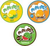 ¡Etiqueta o etiqueta engomada redonda para el helado con el nombre ficticio M-M-M! Foto de archivo