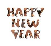 ¡Feliz Año Nuevo! Inscripción del vector de las letras de los perros stock de ilustración