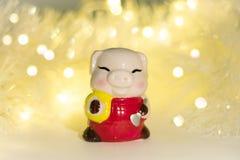 ¡Feliz Año Nuevo! Lucky Pig celebra imagen de archivo