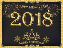 ¡Feliz Año Nuevo 2018! - tarjeta de felicitación con el fondo oscuro Imagen de archivo libre de regalías