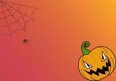 ¡Feliz Halloween! tarjeta del deseo en fondo rojo y anaranjado Fotos de archivo libres de regalías