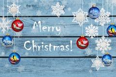 ¡Feliz Navidad! Decoraciones de la Navidad: copos de nieve imagen de archivo