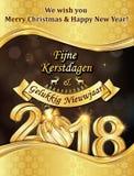 ¡Feliz Navidad y Feliz Año Nuevo 2018! escrito en inglés y holandés - tarjeta de felicitación Fotos de archivo