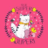 ¡Gato blanco con los pequeños pájaros en un marco floral circular con las letras - usted es duper estupendo! Caracteres originale Imagenes de archivo