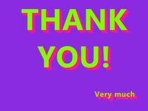 ¡Gracias! Mucho verde del UFO, texto coloreado rosa de Plastik en fondo de la púrpura de Proton ilustración del vector