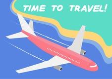 ¡Hora de viajar! - concepto Postal con un vuelo del avión de pasajeros sobre el mar y la playa Gráficos de vector ilustración del vector
